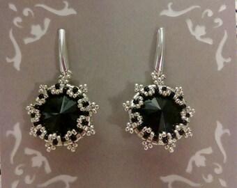 Sterling Silver Crystal Rivoli Earrings Beaded Handcrafted Jewellery Jet Posts