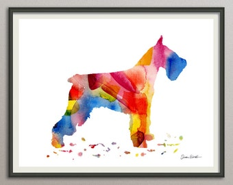 standard schnauzer dog art print watercolor print poster painting drawing wall art silhouette ,  nursery dog wall art