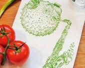 Green Blowfish Tea Towel - Screen Printed On Organic Cotton Flour Sack Towel -  Unqiue House Warming or Wedding Gift