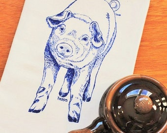 Kitchen Towel - Cotton Flour Sack Material - Blue Pig Screen Printed Towel - Perfect for Dishes - Absorbent Towel - Farm Animals