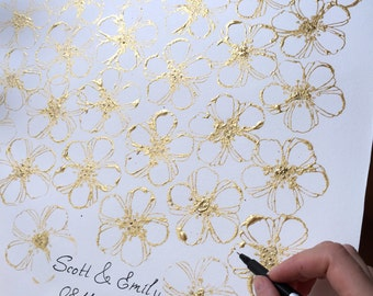 Wedding Guest Book Alternative, White and Gold Wedding Signature Book, White and Gold wedding guest book wall art, Unique Wedding Guest Book