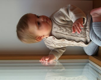 Hand Knit Sweater, Cardigan for Baby. Beige Merino Wool Baby Jacket. More colors & sizes (0-24m)