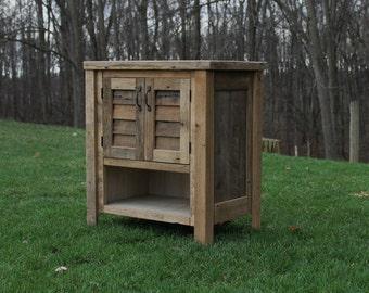 """Rustic Vanity (30"""") - Reclaimed Barn Wood w/Louvered Doors #9836"""