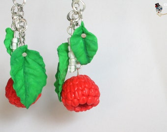 Earrings blackberries with leaves.