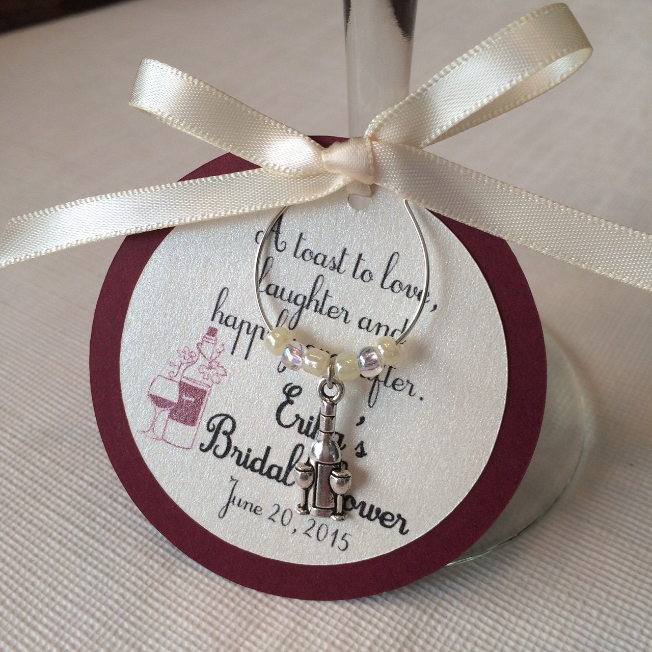 vineyard theme wine charm favor personalized bridal by