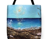 Art tote bag Vacational Paradise tote bag textured  collage by Viktoriya Sirris tote bag of the image seashell collage nautical gift idea
