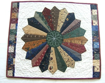 Kansas Troubles Wall Hanging, Wall Art, Dresden Plate Table Runner, Wall Art, Country Fabrics Wall Hanging, Quilted Wall Art,