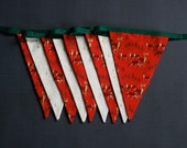 Christmas Bunting - Red and Gold Reindeer, Gold Star of Bethlehem