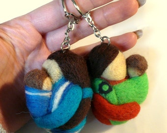 Babywearing, needle felted key rings/ Made for order/ Attachment parenting/ Slingmama/ Sling/ Wrapp/