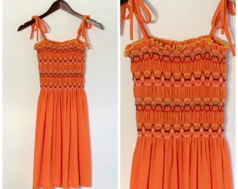 1970s Girls Terrycloth Dress // 70s Vintage Children's Orange Sundress Shirred Elastic Spaghetti Strap