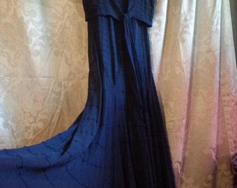 1930's dress and jacket long chiffon navy blue with slip