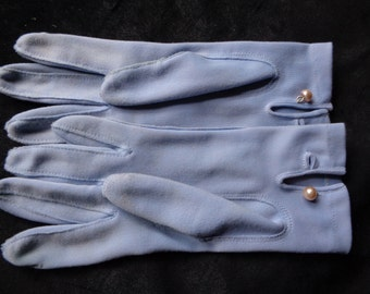 1960's gloves blue fabric small