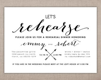 REHEARSAL DINNER - Invitation, Wedding Suite Printables, Let's Rehearse, The Night Before, Black and White, Modern Rehearsal Invitation, 038