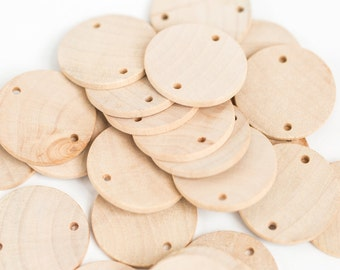 """25 Unfinished Wood Discs Coins Circles with Holes - DIY Family Birthday - Birthday board Tags - 1.5"""" (3.8 cm) Diameter Pendant"""