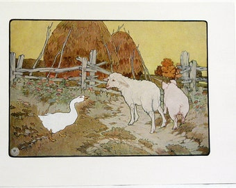 Frederick Richardson The House On The Hill Color Children's Print from 1923 Original Nursery Rhymes/Stories Book Page Color Lithograph #3