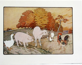 Frederick Richardson The House On The Hill Color Children's Print from 1923 Original Nursery Rhymes/Stories Book Page Color Lithograph #5