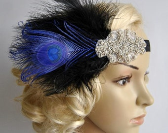Black Blue Flapper Headband,The Great Gatsby headpiece, 1920s Flapper Feather Headband, Vintage Inspired,1930's, Feather, Art Deco headband