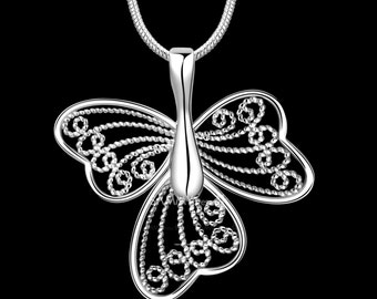 Hollow Out Silver Plate Butterfly Pendant Necklace