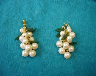 Green Jade, White Faux Pearls, Gold Metal Post Earrings