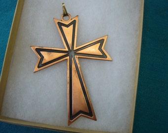 Vintage, Large Retro Copper Cross Pendant.