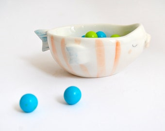 Ceramic Fish Bowl , Decorated with Red Stripes. Made To Order