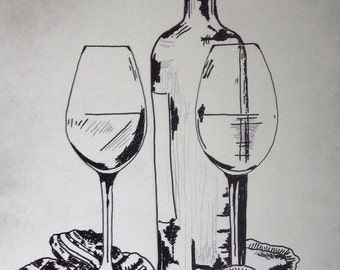 abstract Black and White Painting of Wine Bottle