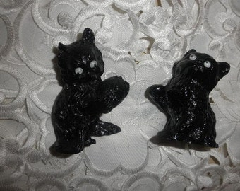 Coal Kittens with Googly Eyes Handcrafted