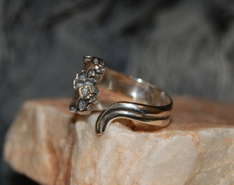 Vintage Sterling Silver Kitty Double Trouble Duo Cats Climbing Wrap Around 2 Tail Ring 925