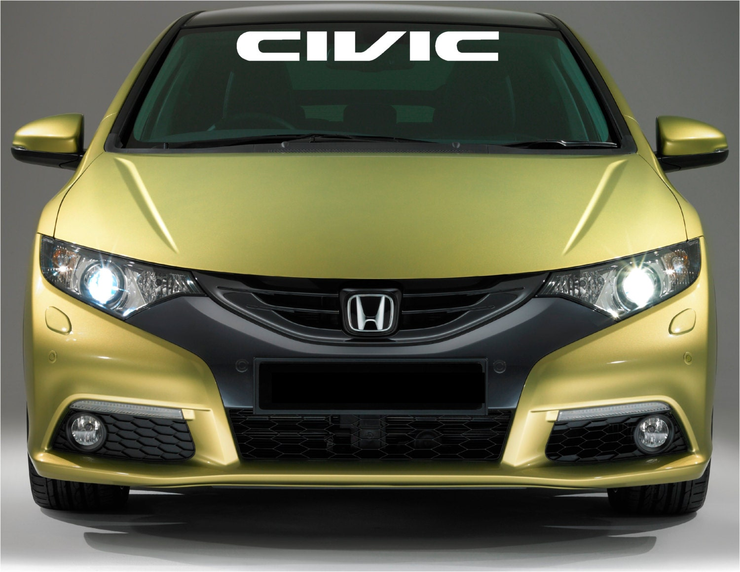 Honda civic logo windshield banner vinyl decals stickers for Honda civic windshield replacement cost