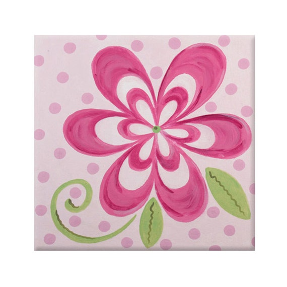 Kids rooms nursery art bright pink flower canvas by for Canvas painting for kids room