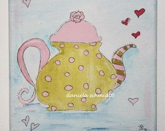 """Original acrylic painting """"teapot 2"""""""