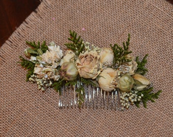 Hair comb, Dried flower comb, Wedding hair comb, Hair accessory  -Can Be Custom Made to Order