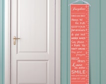 """Personalized Growth Chart """"Dream Big"""" in Coral"""