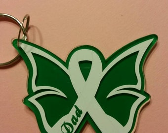 Personalized Cancer awareness butterfly keychains
