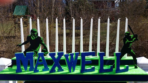Bar Mitzvah Candle Light Display, Sports Theme Centerpiece, Personalized Mitzvah Candelabra, Football Centerpiece,  Baseball Centerpiece