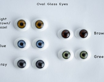 Details about  Oval Glass Eyes - Green, Light Brown/ Hazel, Blue, Gray, Brown 22mm Reborn Doll Supplies