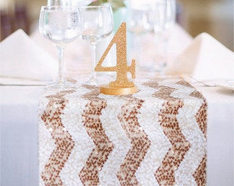 Chevron Rose Gold and White Sequin Table Runner READY TO SHIP. Sparkly Chevron White & Rose Gold Sequin Runner for Party Event Table Decor