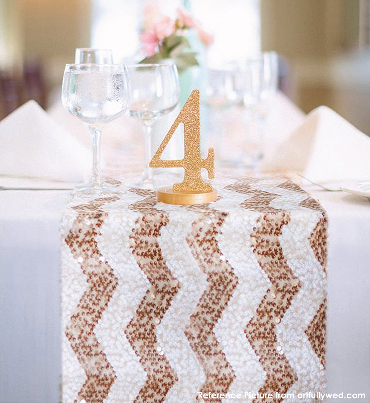 Chevron Rose Gold And White Sequin Table Runner Ready To Ship
