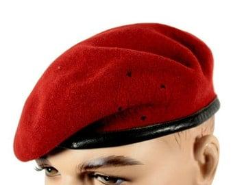 Vintage German army red beret cap military hat bundeswehr army