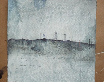 Original Mixed Media Acrylic Stitched Painting Drawing on Printmakers' Paper