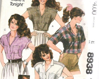 McCALL'S Sewing Pattern 8938. MISSES  Wardrobe of SHIRTS. Size S.  VINTAGE ©1984.