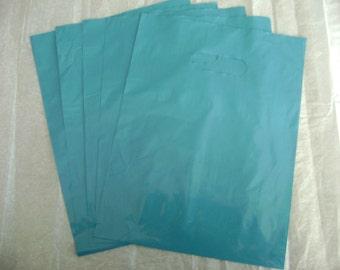 25 Pack 9X12 Teal/Blue Merchandise Bags Glossy Handles Low Density Handle Gift Bags