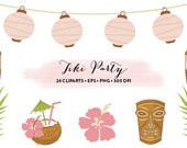 Tiki Party Clipart // Hawaiian Party Clipart Luau party // Vector Tiki // Tiki Collection and Set