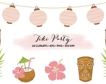 Tiki Party Clipart // Hawaiian Party Clipart Luau party // Vector Tiki // Tiki Collection and Set