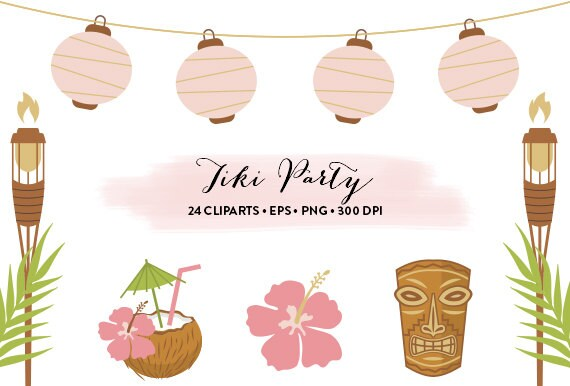 Tiki Party Clipart // Hawaiian Party Clipart Luau party //