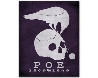 Edgar Allan Poe The Raven - Halloween Skull Raven Horror Decor Literary Gift Idea Book Lover Literary Art American Poet Author