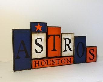 Houston Astros Word Blocks - Astros Baseball Wooden Block Set - Houston Texas Astros Father's Day Gift - Houston Astros Sign
