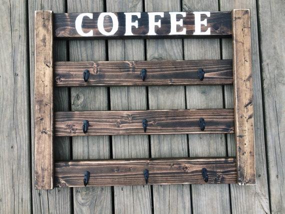 Coffee Mug Display Coffee Mug Rack Coffee Bar By AHomeyHouse