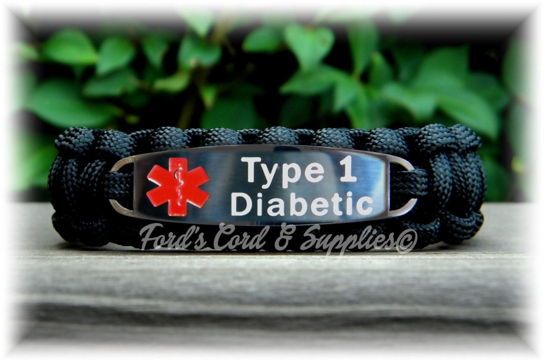 type 1 diabetic alert bracelet by fordscordandsupplies