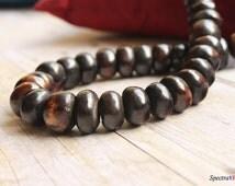 Full Strand Chunky Dark Brown Bone and Wood beads - Jewelry Making Supplies - Kenya Bone Beads - Dark Brown - Shaded Beads